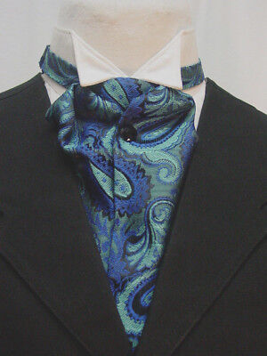 67b5187ee1b2 Blue and Black Paisley Ascot Cravat Wedding Old West Puff Tie with pin