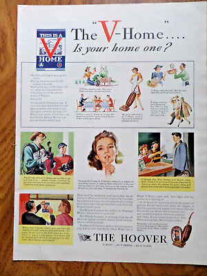 1943 Hoover Vacuum Cleaner Ad WW 2 The V-Home is your Home One?
