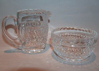 8321: Waterford Alana Sugar Bowl and Creamer Pitcher Set Irish Crystal