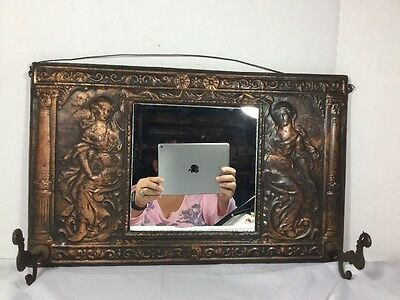 Antique Copper Hat Rack With Mirror & Two Hooks Victorian Women Wall Hanging