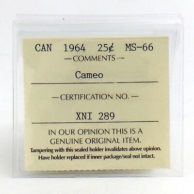 1964 Canada Cameo ICCS Graded Mint State 66 Twenty Five 25 Cent Silver Coin H774