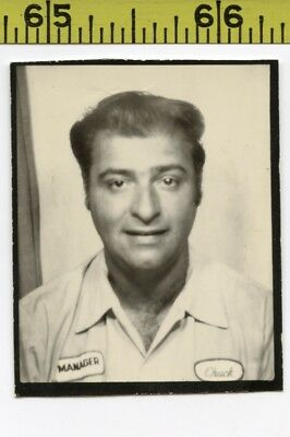 Vintage 1950's BOOTH photo / Gas Station Manager's Customers Call Him WTF Chuck