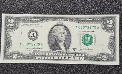 2003 A $2 Two Dollar Frn Low  Radar # 7227 Rare Boston District Aa Block Unc.