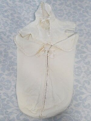 Vintage 1960's Quiltex Quality Product Baby Jacket & Bunting Quilted White Satin