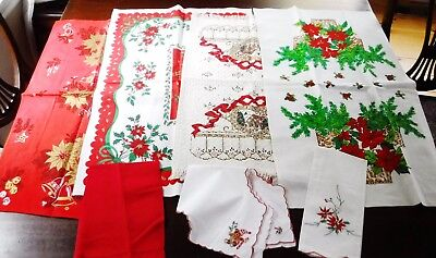 Christmas Linen Runners Towels Vintage Print Red Festive Decorative Lot of 7