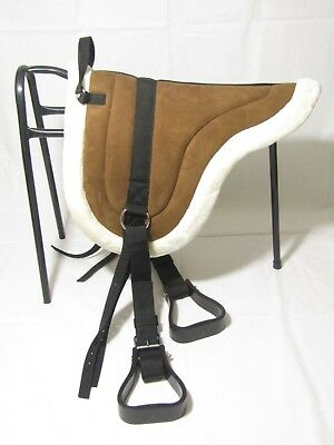 New Canadian Bareback Pad with Stirrups and Girth Treeless Riding Saddle Pad F/C