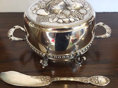 Antique Victorian 3pc Silver Plate Butter Dish w/ Lid Knife James Tuffs 1880's