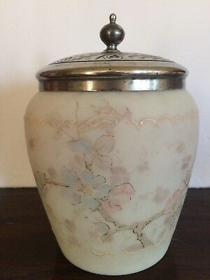 WAVECREST Antique Biscuit Jar w/ Lid Silver Plate Art Glass Hand Paint Flowers