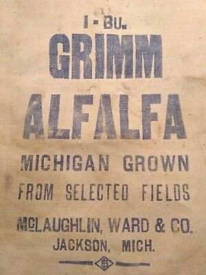 Vintage MICHIGAN GROWN Sack Cloth Bag Alfalfa Grimm Seed JACKSON Mclaughlin Ward