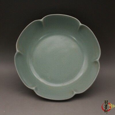 China antique Porcelain Song ru Kiln sky cyan glaze Ice crack flowers mouth dish