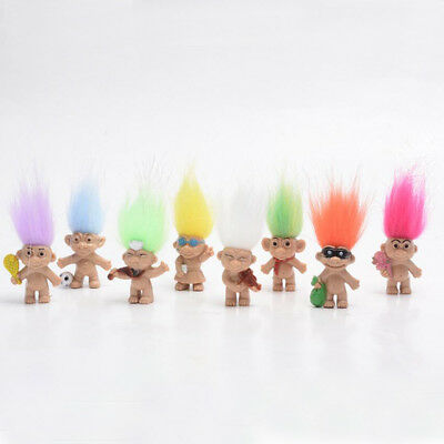 "Lot8pcs Trolls Vintage Lucky Doll Mini Figures Toy 1"" Cake Toppers Kids Gift"