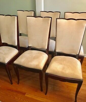 Set 6 Vintage French Art Deco Dining Side Chairs Polished Wood Upholstered