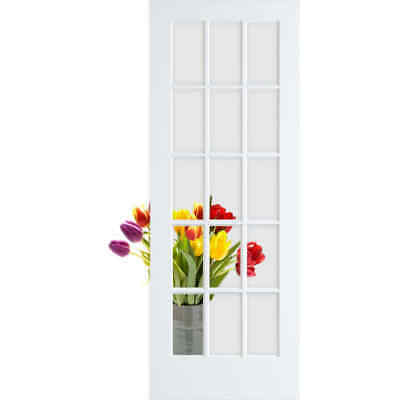 """Frameport FA_3233081W Primed Clear Glass 32"""" by 80"""" 15 Lite Passage Door"""