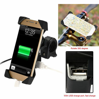 "Universal Motorcycle Cellphone ABS Mount Holder For 3.5-7""Phone GPS +USB Charger"