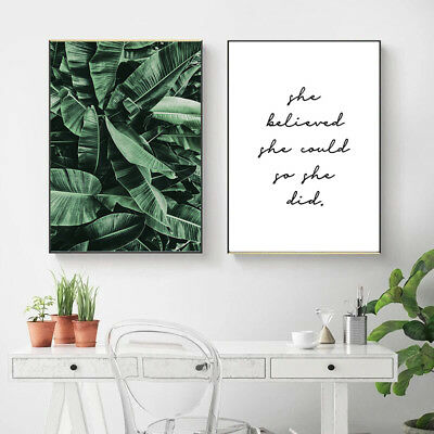 Banana Leaves Canvas Painting Wall Art Poster Quotes Nordic Print Home Decor