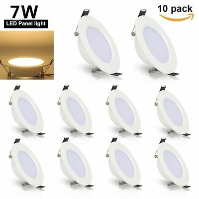 10X 7W Round LED Recessed Ceiling Light Panel Lamp Downlight White Indoor Home