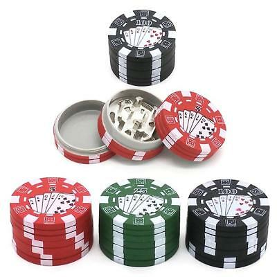 3 Layers Herb Smoking Crusher Poker Chip Style Tobacco Grinder Tools Protection