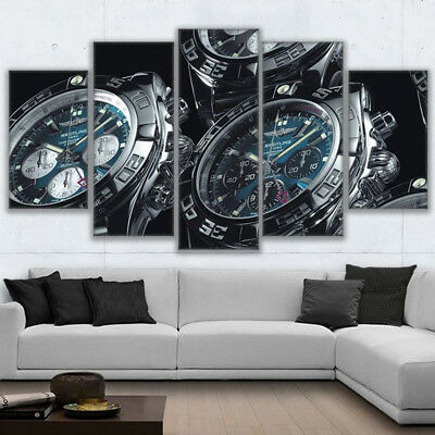 Vintage Breitling Watches Painting 5 Panel Canvas Print Wall Art Poster Decor