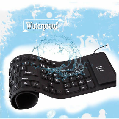109 Keys Wired USB Flexible Foldable Silicone Keyboard Waterproof For PC