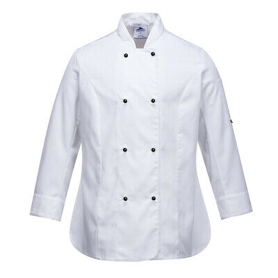 Chef Jacket Women Ladies Coat Long Sleeve White Hospitality Uniform Portwest Lrg