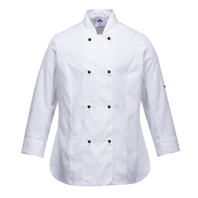 Chef Jacket Women Ladies Coat Long Sleeve White Hospitality Uniform Portwest 2XL