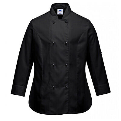 Chef Jacket Women Ladies Coat Long Sleeve Black Hospitality Uniform Portwest Sml