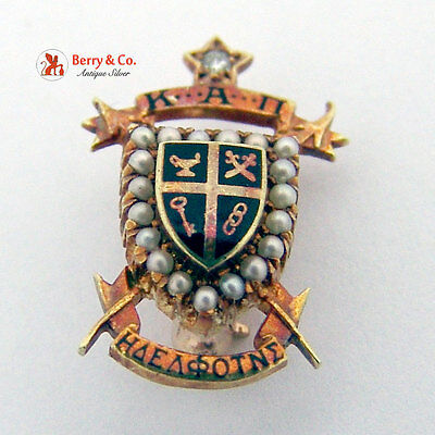 Antique KAPPA ALPHA PI Pin Brooch Vintage Fraternity 14k Gold Diamond Seed Pearl