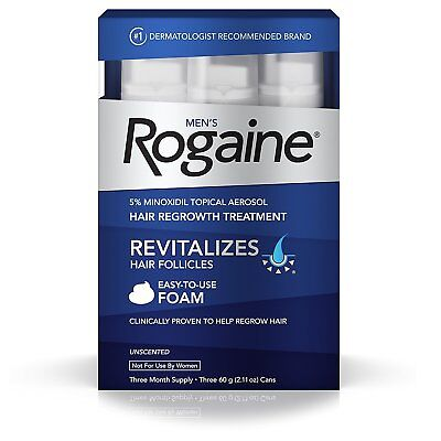 Men's Rogaine Hair Loss & Hair Thinning Treatment Minoxidil Foam 3 Months Supply