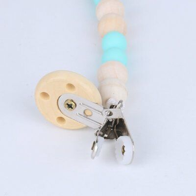 Dummy Clip Holder Pacifier Clips Soother Chains Wooden Bead Baby Teething Toy DU