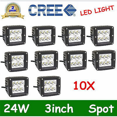 10X 3inch 24W Cree LED Work Light Spot Cube Pods Off-road Driving SUV Truck Lamp