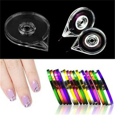 Nail Art Gold Silver Striping Tapes Holder 3D Decor Stickers Roller Empty Case 6