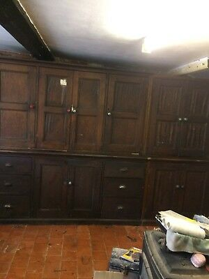 Antique Mid 19th Century Victorian Pine Kitchen Keepers Cupboard ,shop Counter