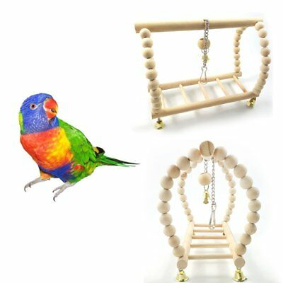 Parrot Wooden Hanging Swing Chew Stand Perch Pet Bird Play Toy Wide DU