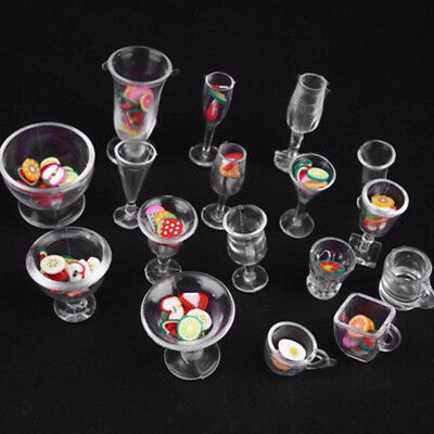 Miniatures Dollhouse Cup Set modern style Clear Accessories Mini Resin 17pcs