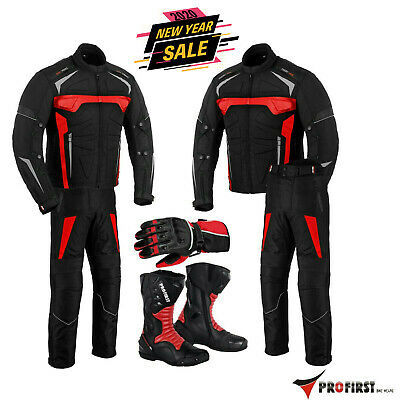 Motorcycle Motorbike Racing suit Waterproof Armoured jacket Pant Leather Boots