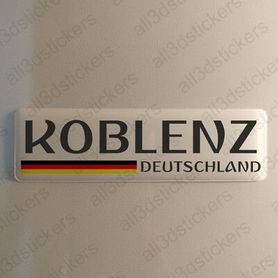 """Koblenz Germany Sticker 4.70x1.18"""" Domed Resin 3D Flag Stickers Decal Vinyl"""