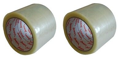 2 X EXTRA WIDE HEAVY DUTY CLEAR PARCEL PACKING TAPE 75MM x 66M 3'' LARGE ROLL