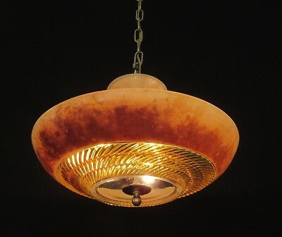 Vintage Art Deco Glass Shade Chandelier Ceiling Light Fixture (Rewired)    FX198