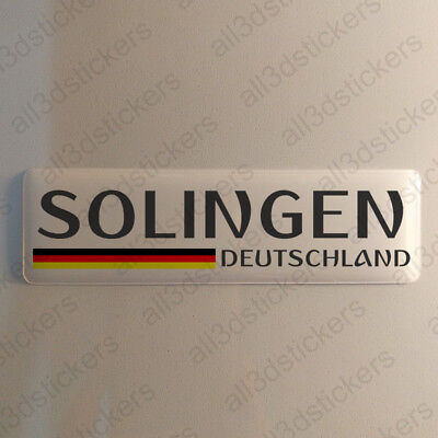 """Solingen Germany Sticker 4.70x1.18"""" Domed Resin 3D Flag Stickers Decal Vinyl"""