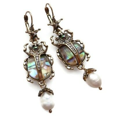 Art Deco Style Scarab Beetle Earrings Vintage Style Crystals Pearl Antique Gold