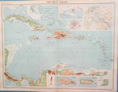Map of Caribbean. 1922. West Indies. CUBA. BARBADOS. Original