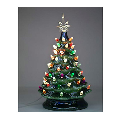 Vintage Hand Painted Pearlized Ceramic Christmas Tree 14 5 Multi Color Lights