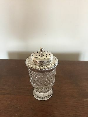 Cut Glass And Sterling Silver Rimmed And Lidded Sugar Shaker On A Round Foot