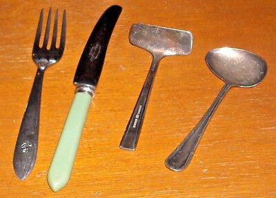 Baby's Cutlery Hamilton Silver Plated Spoon & Pusher - Child's Knife & Fork