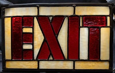 Vtg Stained Leaded Slag Glass Exit Sign No Frame Art Deco Theater 13 x 8 NICE!