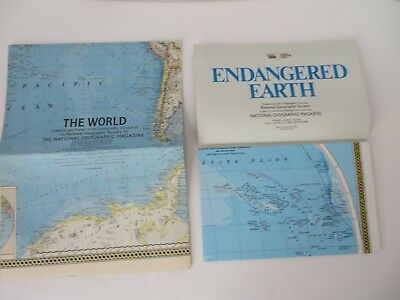 Vtg National Geographic Map Lot of 2 The World 1965 & 1988   #8587