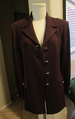 St John by Marie Gray chocolate brown knit button down front jacket