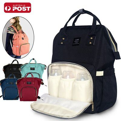 AU Waterproof Large Mummy Nappy Diaper Bag Baby Travel Changing Nursing Backpack