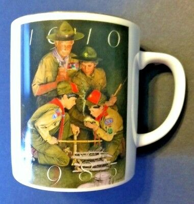 Boy Scouts of America Mug Coffee 75th Anniversary Gold Rim Vintage BSA Csatori