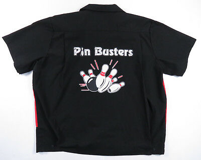 Pin Busters Black Red Button Up Bowling Team Shirt Retro Hilton Mens L